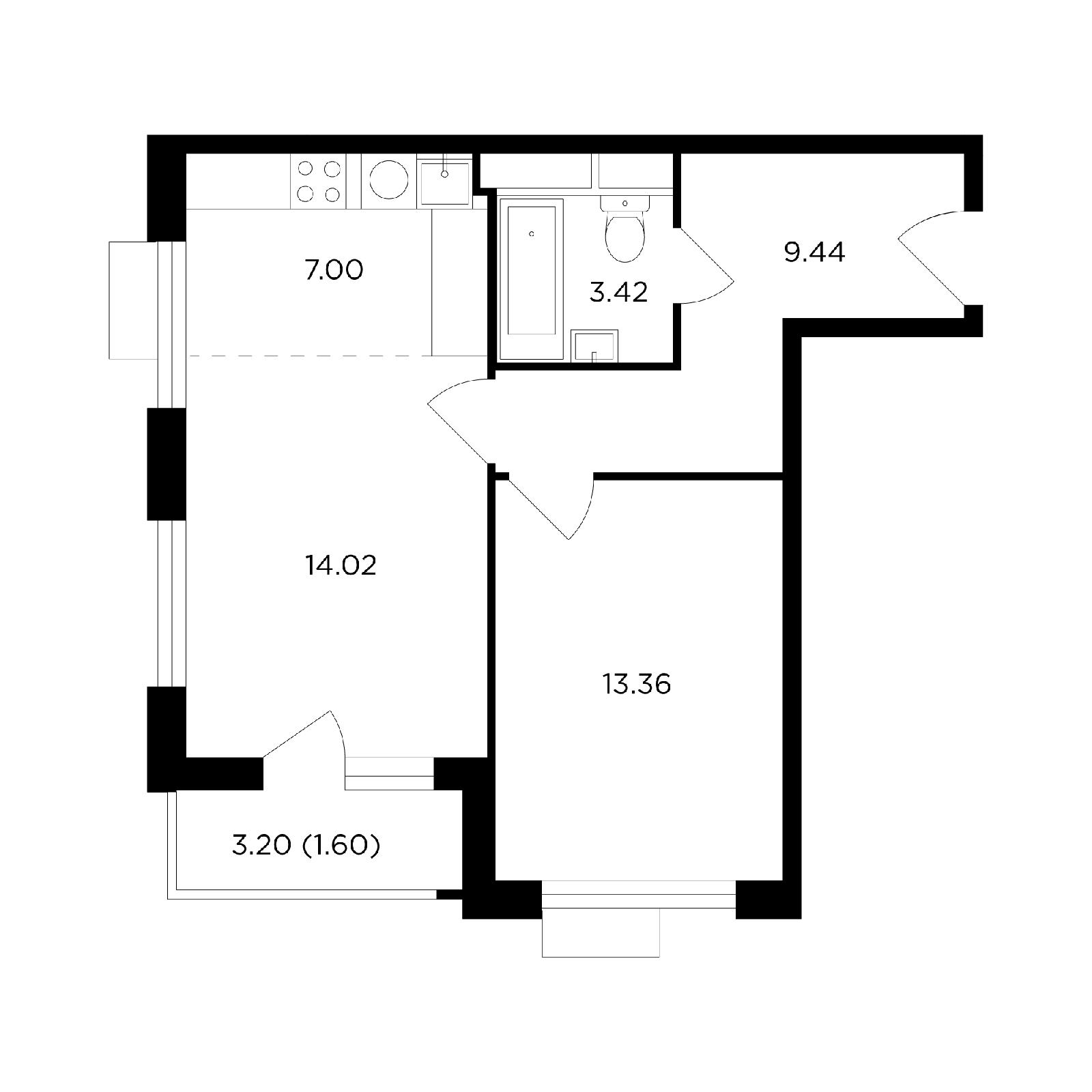 Продаётся 2-комнатная квартира в новостройке 48.8 кв.м. этаж 17/27 за 20 188 844 руб