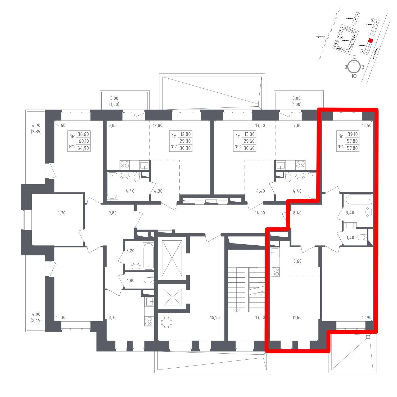 Продаётся 3-комнатная квартира в новостройке 57.8 кв.м. этаж 2/17 за 8 171 787 руб