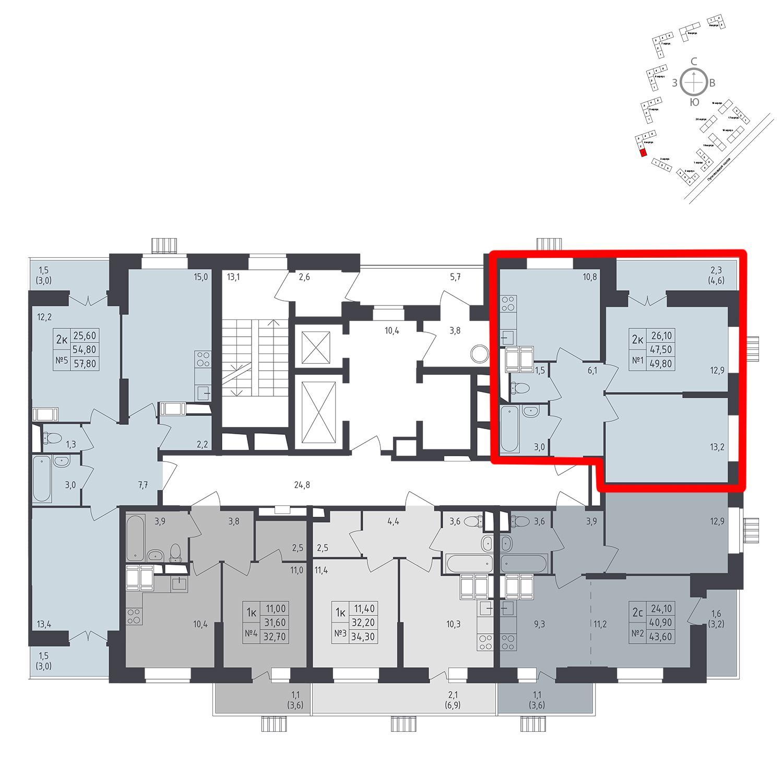 Продаётся 2-комнатная квартира в новостройке 49.8 кв.м. этаж 24/25 за 9 337 251 руб