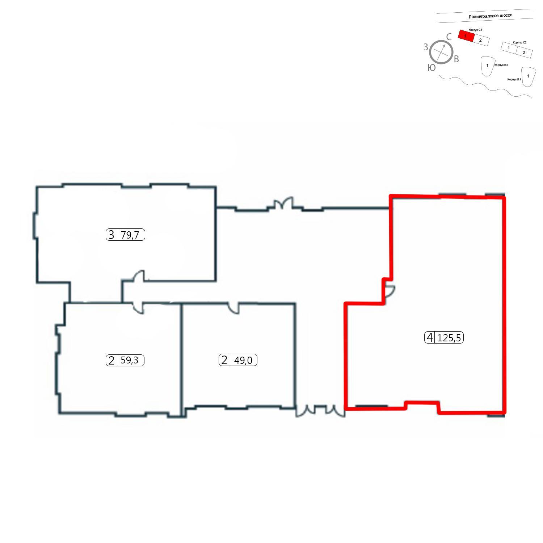 Продаётся 4-комнатная квартира в новостройке 125.5 кв.м. этаж 1/14 за 28 577 278 руб