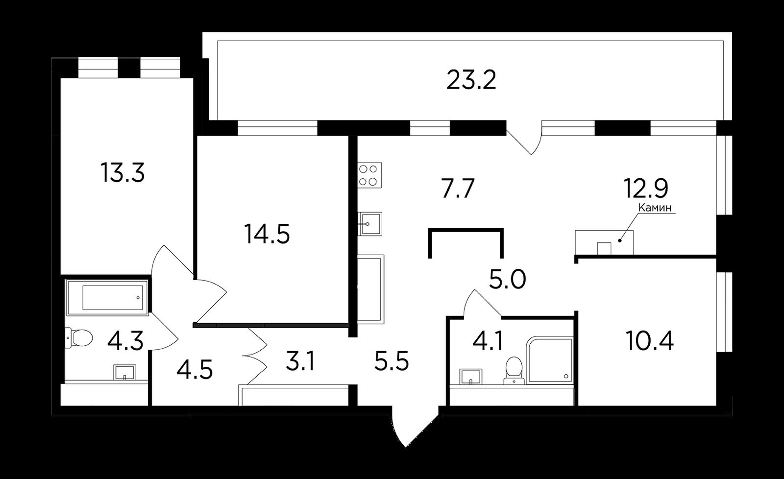 Продаётся 4-комнатная квартира в новостройке 96.9 кв.м. этаж 16/17 за 22 701 083 руб