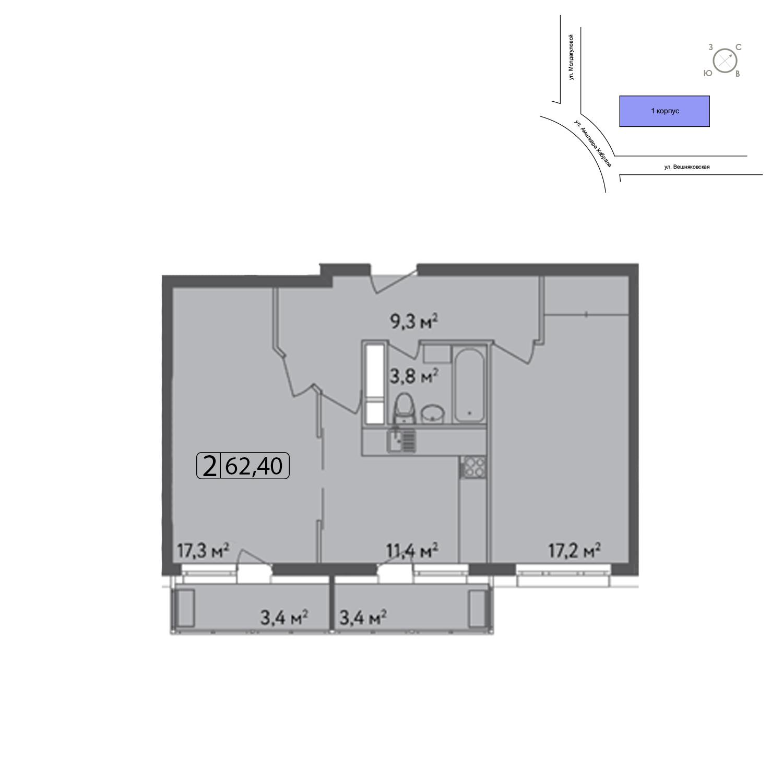 Продаётся 2-комнатная квартира в новостройке 62.4 кв.м. этаж 8/13 за 12 748 400 руб
