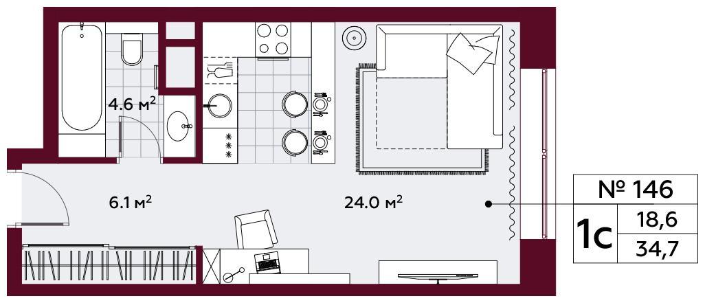 Продаётся  квартира-студия 34.7 кв.м. этаж 5/10 за 14 999 075 руб