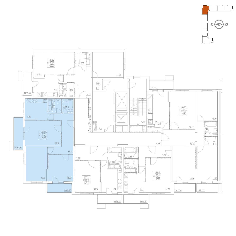 Продаётся 3-комнатная квартира в новостройке 71.2 кв.м. этаж 6/25 за 11 153 903 руб