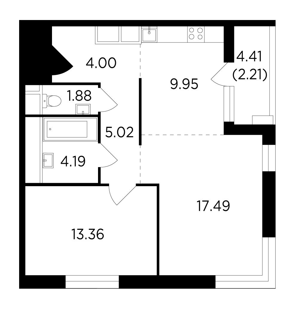 Продаётся 2-комнатная квартира в новостройке 58.1 кв.м. этаж 11/25 за 9 965 021 руб