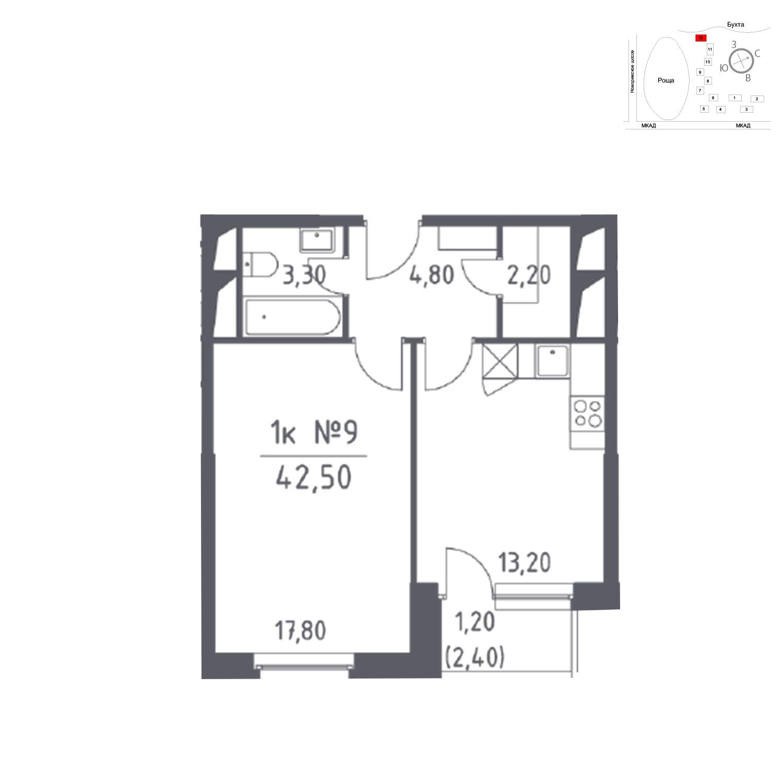 Продаётся 1-комнатная квартира в новостройке 42.5 кв.м. этаж 22/32 за 0 руб
