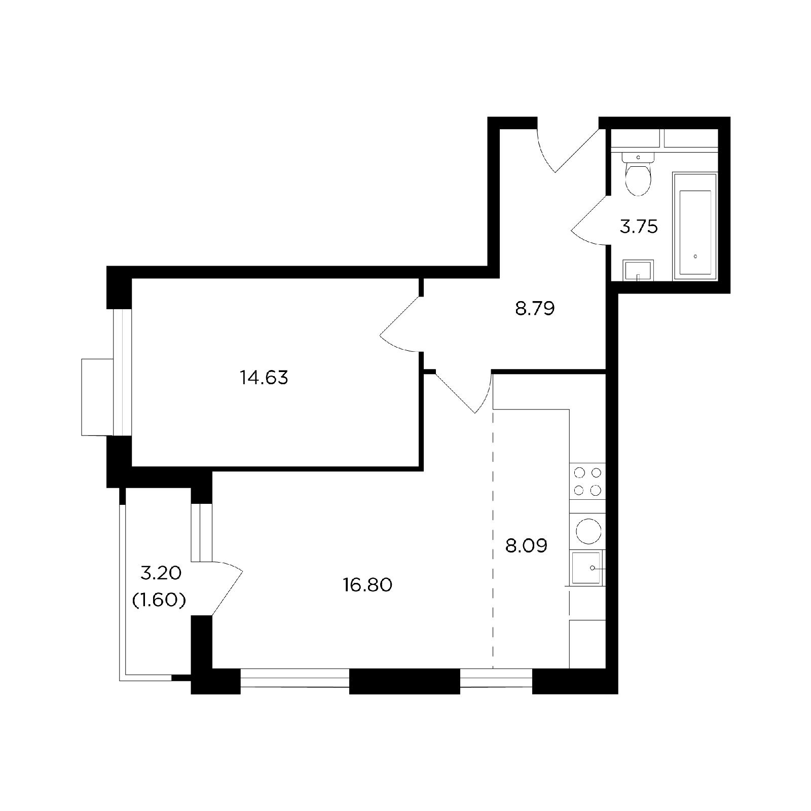 Продаётся 2-комнатная квартира в новостройке 53.1 кв.м. этаж 4/27 за 17 476 637 руб