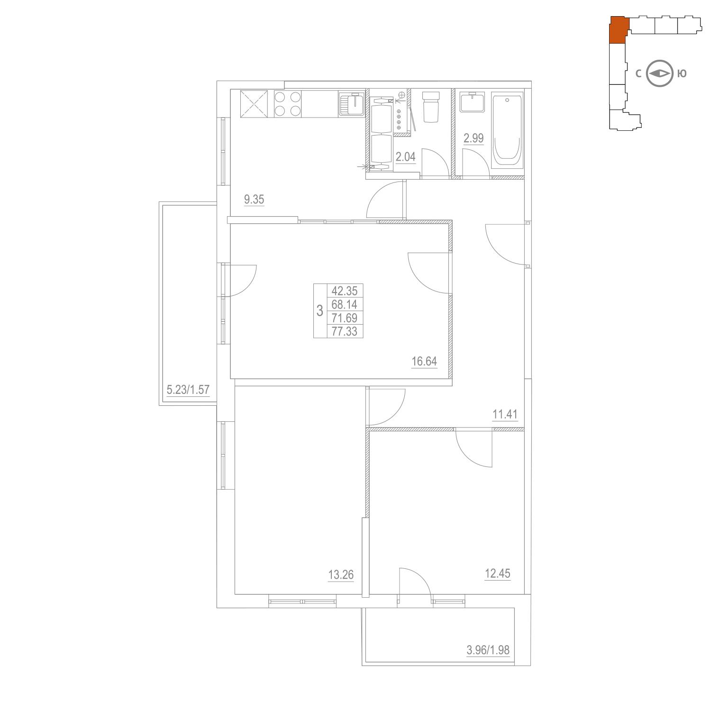 Продаётся 3-комнатная квартира в новостройке 71.7 кв.м. этаж 15/25 за 11 273 109 руб