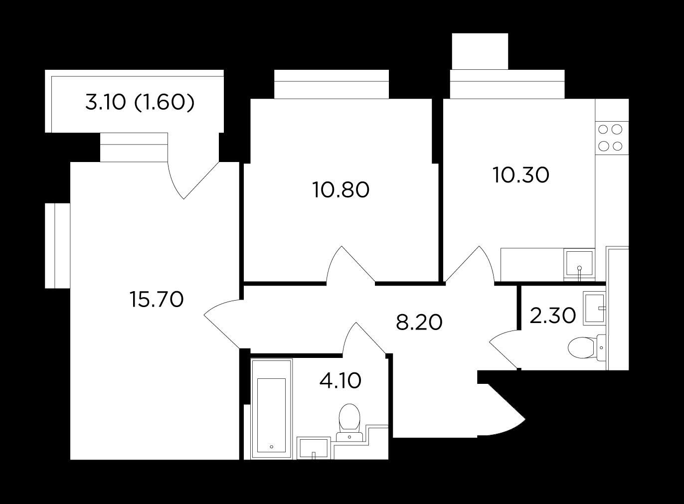 Продаётся 2-комнатная квартира в новостройке 53.0 кв.м. этаж 9/18 за 9 906 693 руб
