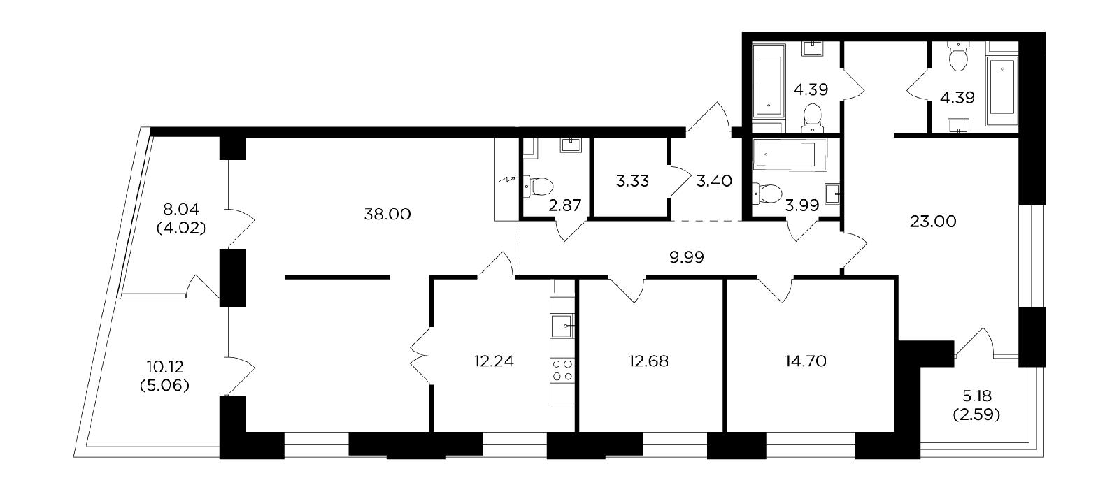 Продаётся 4-комнатная квартира в новостройке 144.7 кв.м. этаж 12/19 за 56 739 541 руб