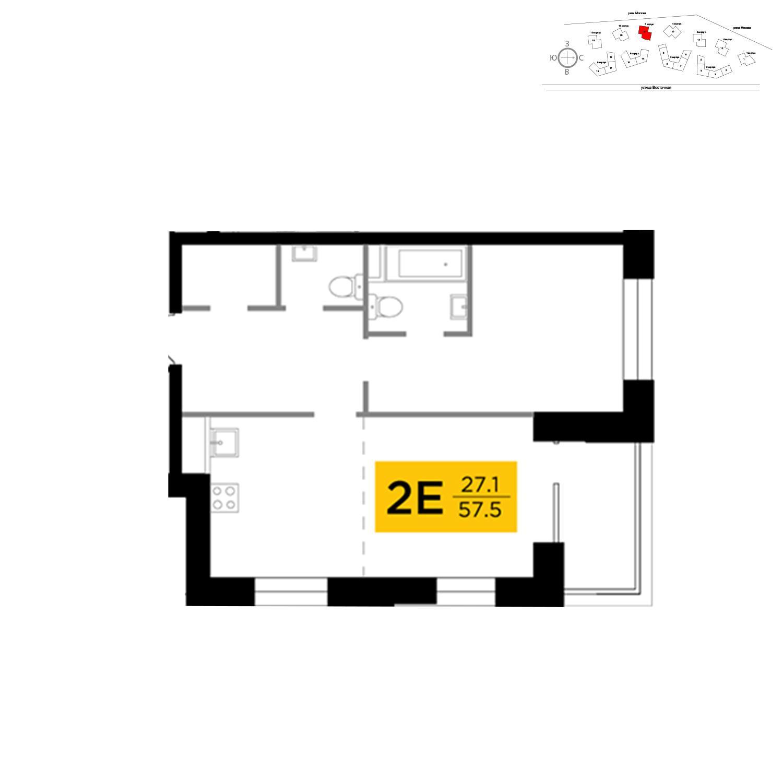 Продаётся 2-комнатная квартира в новостройке 57.5 кв.м. этаж 4/19 за 25 294 220 руб