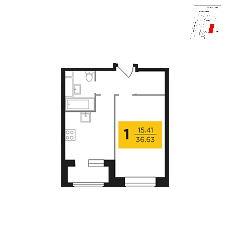 Продаётся 1-комнатная квартира в новостройке 36.6 кв.м. этаж 6/27 за 8 065 488 руб