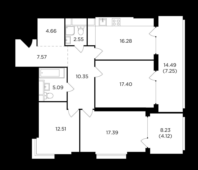 Продаётся 3-комнатная квартира в новостройке 105.2 кв.м. этаж 9/29 за 39 247 130 руб
