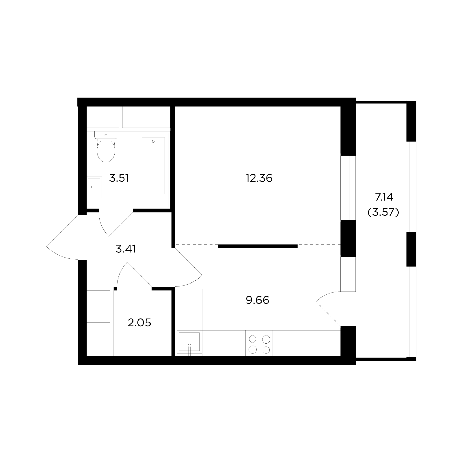 Продаётся 1-комнатная квартира в новостройке 34.6 кв.м. этаж 7/24 за 6 677 199 руб
