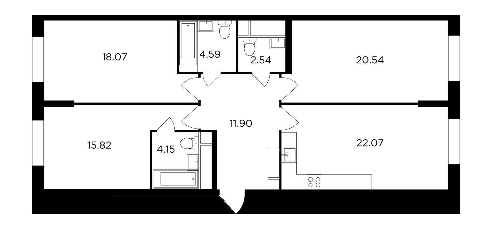 Продаётся 3-комнатная квартира в новостройке 99.7 кв.м. этаж 20/30 за 23 705 069 руб