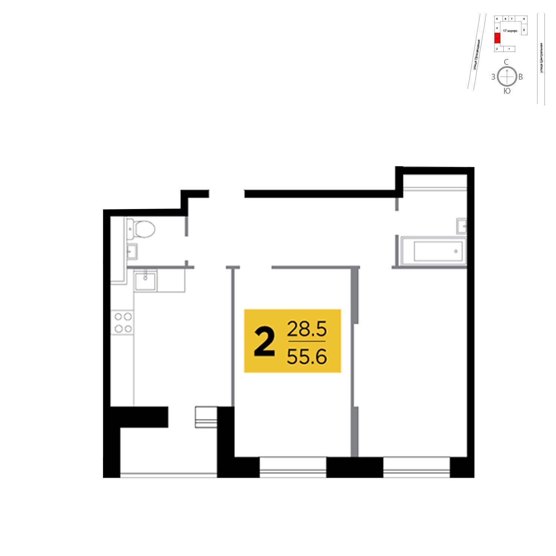 Продаётся 2-комнатная квартира в новостройке 55.6 кв.м. этаж 5/16 за 6 846 592 руб
