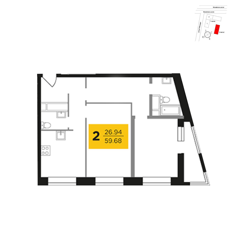 Продаётся 2-комнатная квартира в новостройке 59.7 кв.м. этаж 5/27 за 11 821 108 руб