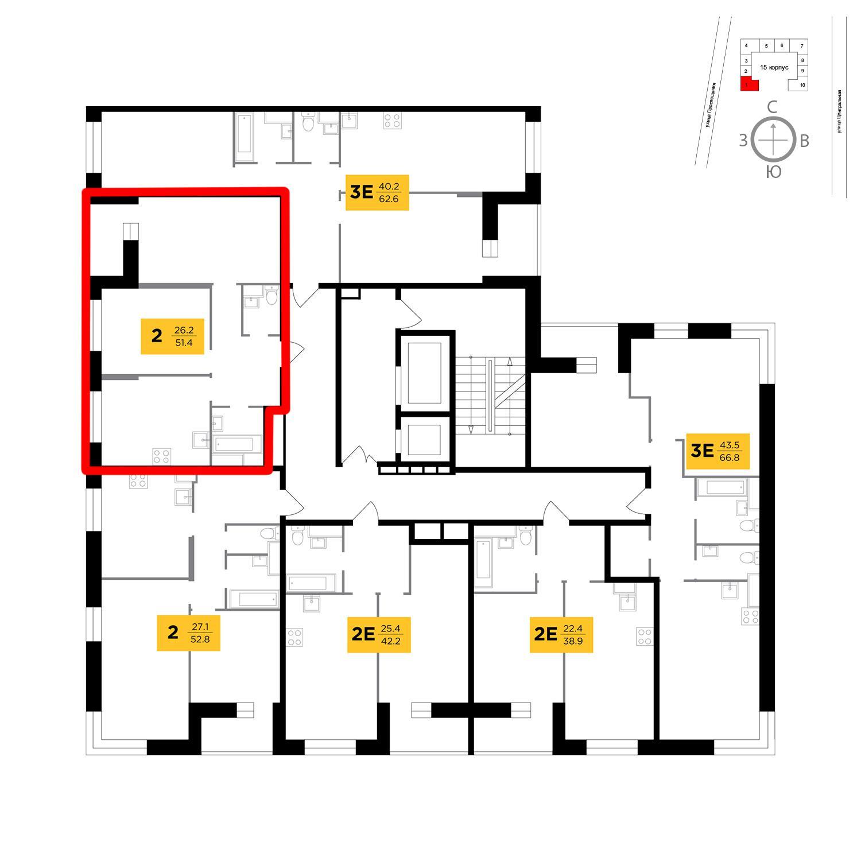 Продаётся 2-комнатная квартира в новостройке 51.4 кв.м. этаж 10/16 за 4 102 593 руб