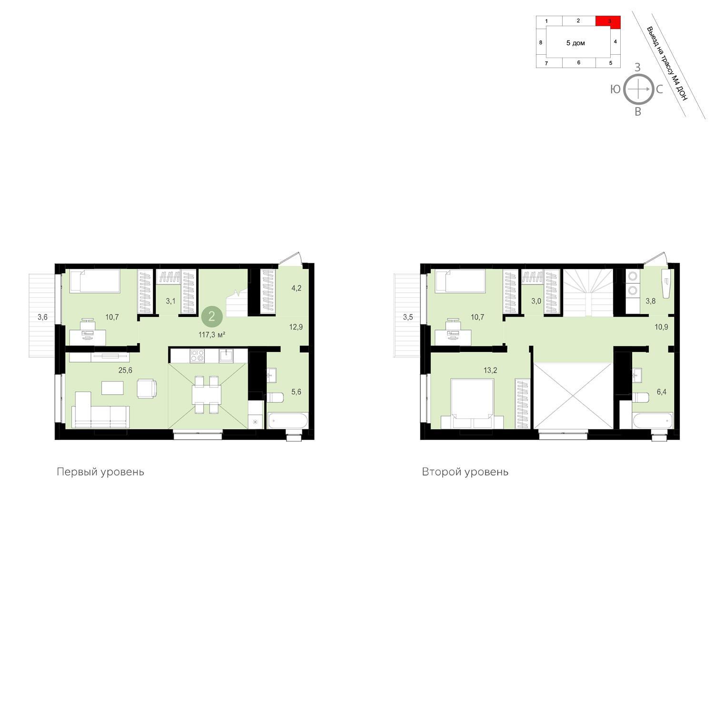 Продаётся 2-комнатная квартира в новостройке 117.3 кв.м. этаж 13/13 за 12 090 000 руб