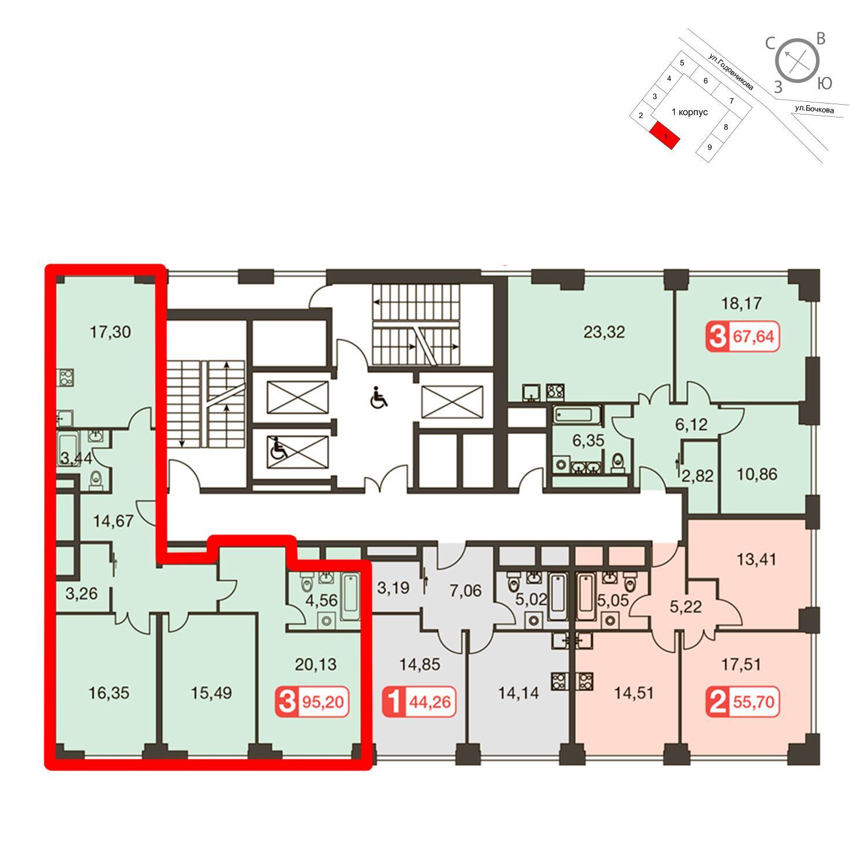 Продаётся 3-комнатная квартира в новостройке 99.5 кв.м. этаж 28/35 за 27 069 440 руб
