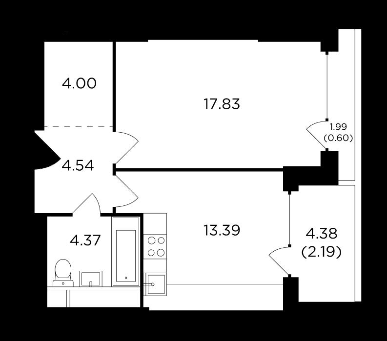 Продаётся 1-комнатная квартира в новостройке 46.9 кв.м. этаж 29/29 за 24 090 517 руб