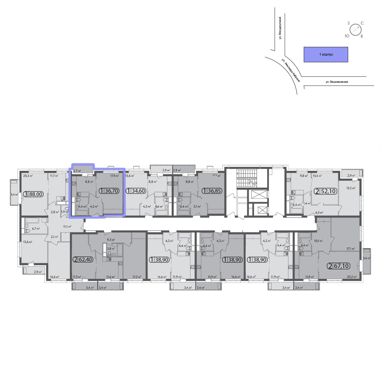 Продаётся 1-комнатная квартира в новостройке 36.9 кв.м. этаж 8/13 за 0 руб
