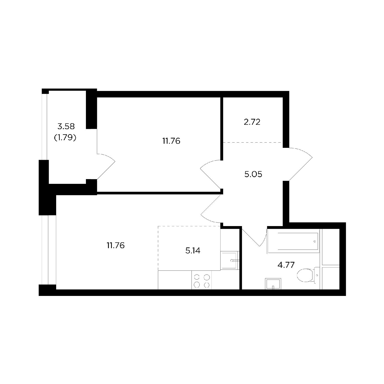Продаётся 2-комнатная квартира в новостройке 42.9 кв.м. этаж 5/24 за 8 536 659 руб