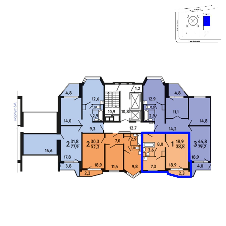 Продаётся 1-комнатная квартира в новостройке 38.8 кв.м. этаж 16/25 за 5 494 080 руб