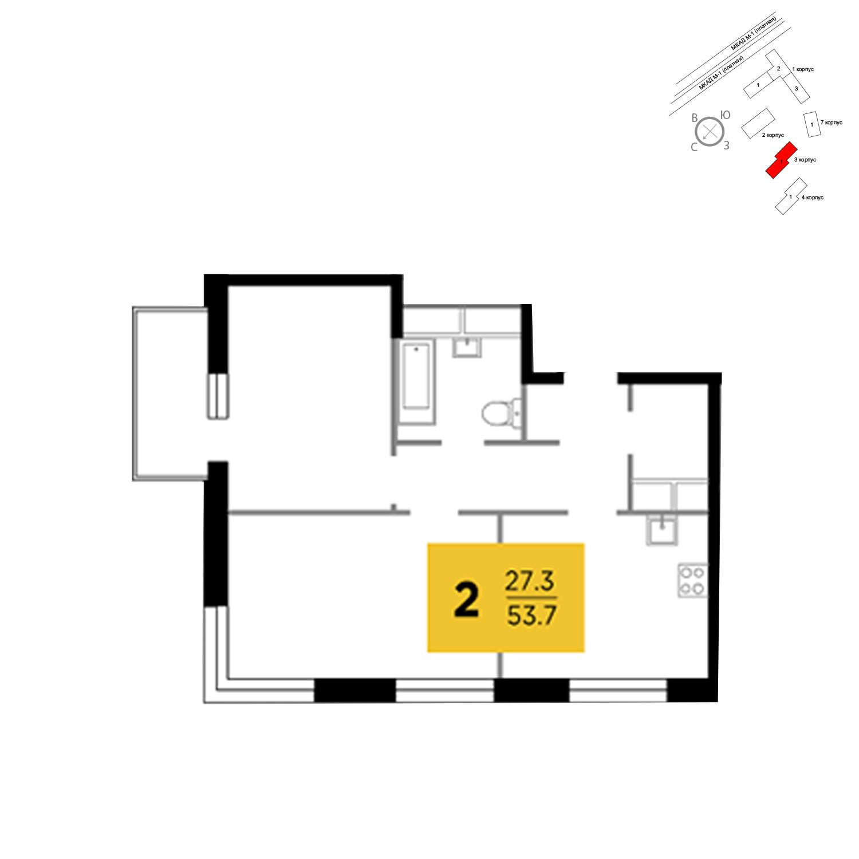 Продаётся 2-комнатная квартира в новостройке 53.7 кв.м. этаж 4/24 за 4 694 246 руб