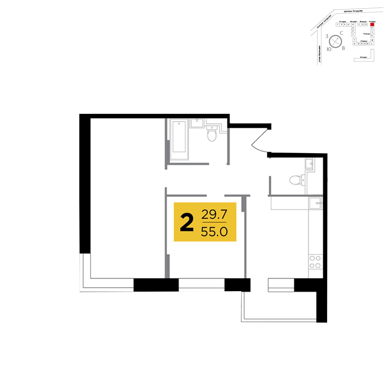Продаётся 2-комнатная квартира в новостройке 55.0 кв.м. этаж 13/17 за 5 060 000 руб
