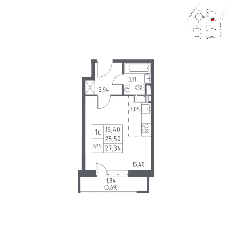 Продаётся 1-комнатная квартира в новостройке 27.3 кв.м. этаж 8/14 за 6 038 859 руб