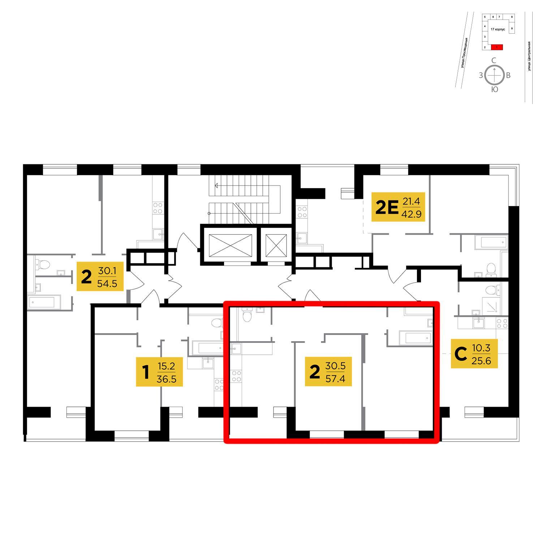 Продаётся 2-комнатная квартира в новостройке 57.4 кв.м. этаж 11/16 за 4 588 269 руб