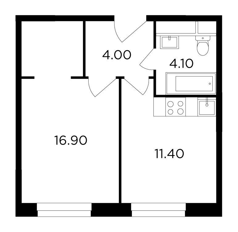Продаётся 1-комнатная квартира в новостройке 36.3 кв.м. этаж 23/24 за 6 018 939 руб