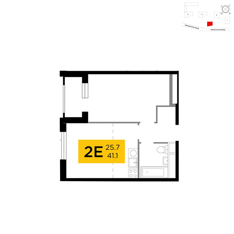 Продаётся 2-комнатная квартира в новостройке 41.1 кв.м. этаж 14/26 за 16 239 708 руб