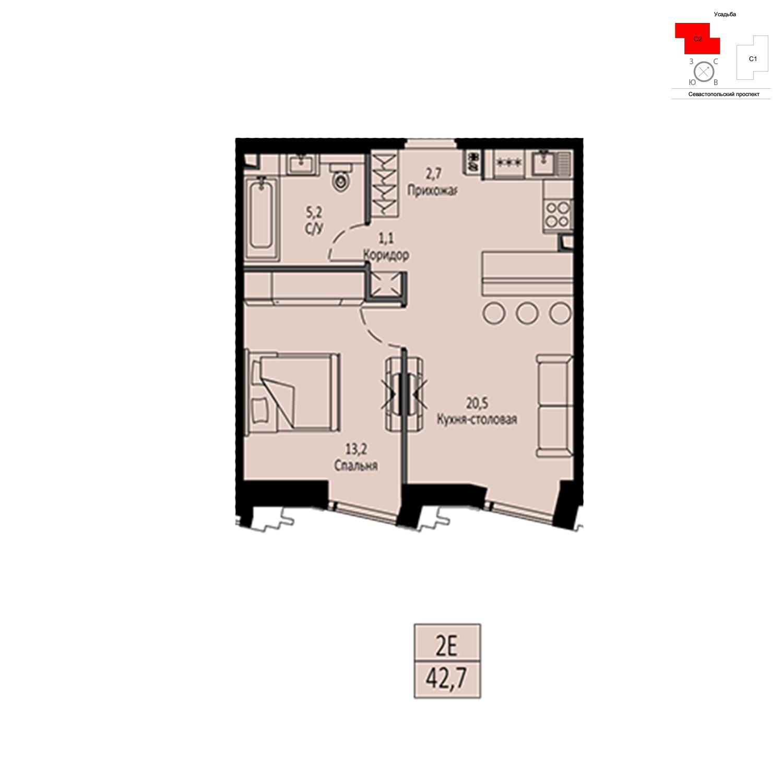 Продаётся  квартира-студия 42.7 кв.м. этаж 8/42 за 15 299 410 руб