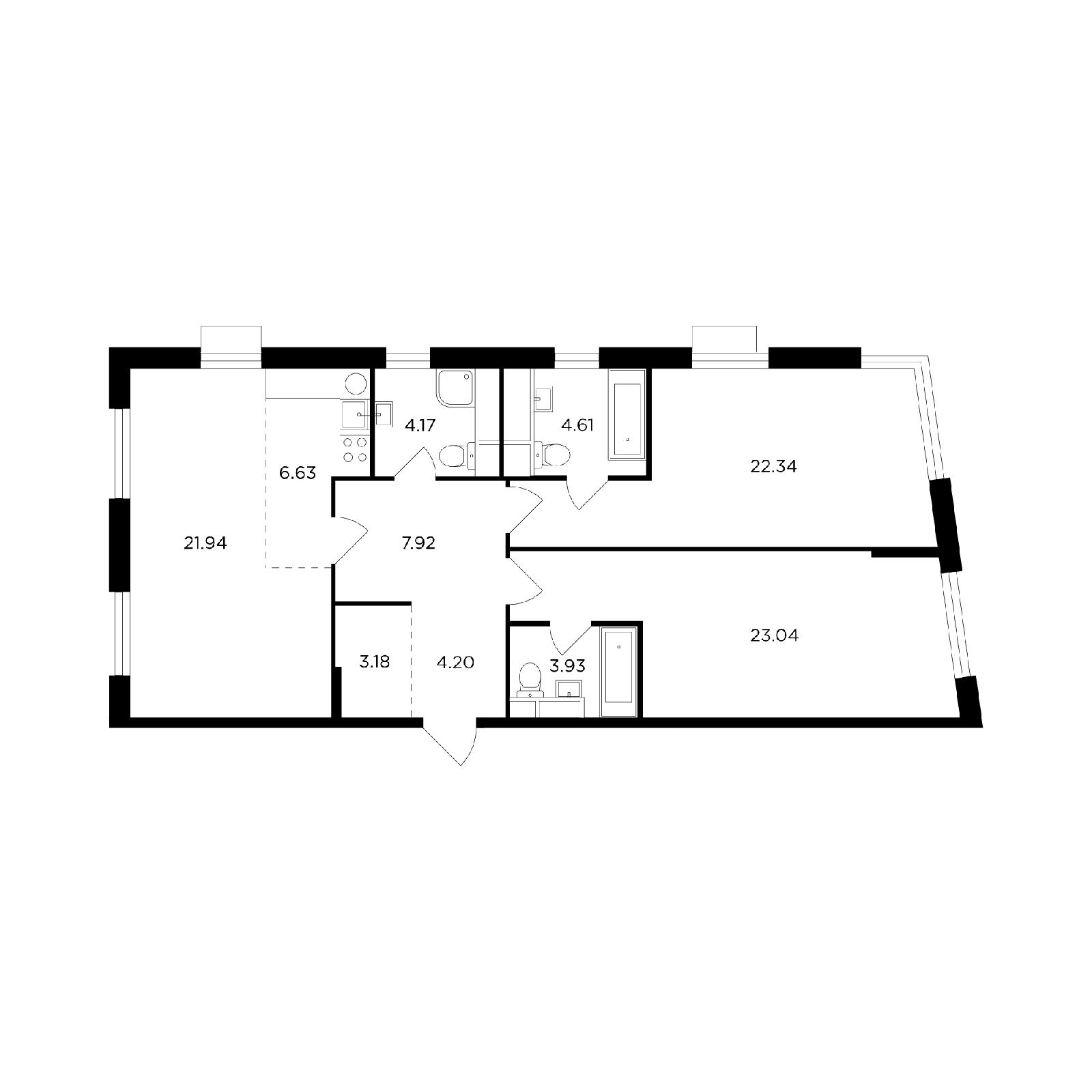 Продаётся 3-комнатная квартира в новостройке 102.0 кв.м. этаж 26/26 за 35 876 976 руб