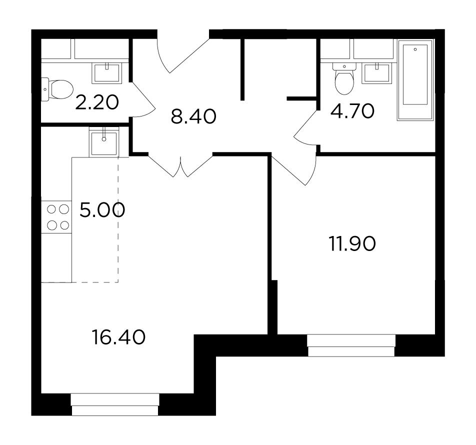 Продаётся 2-комнатная квартира в новостройке 48.3 кв.м. этаж 23/24 за 6 798 369 руб