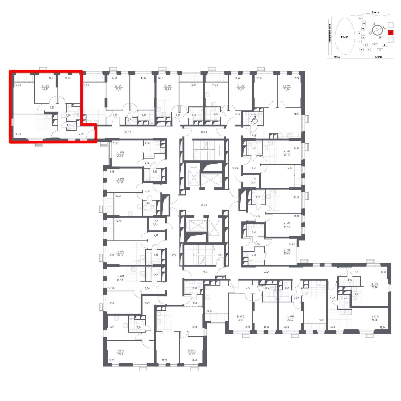 Продаётся 3-комнатная квартира в новостройке 66.7 кв.м. этаж 6/31 за 8 264 597 руб