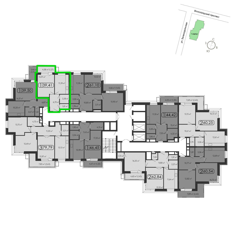Продаётся 1-комнатная квартира в новостройке 40.1 кв.м. этаж 13/15 за 9 098 160 руб