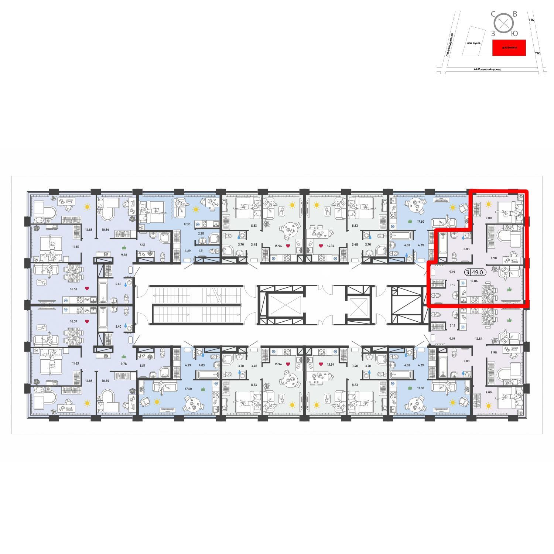 Продаётся  квартира-студия 49.0 кв.м. этаж 11/11 за 17 408 995 руб
