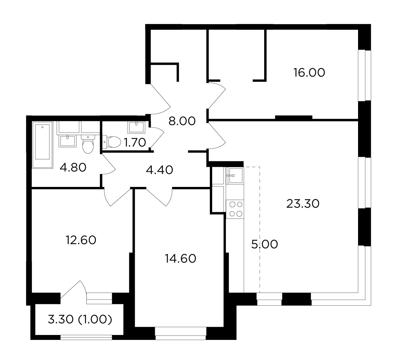Продаётся 4-комнатная квартира в новостройке 91.2 кв.м. этаж 17/24 за 11 408 664 руб