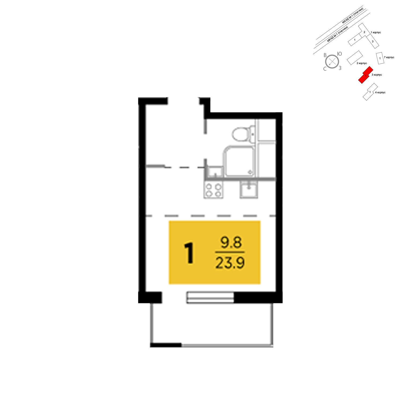 Продаётся 1-комнатная квартира в новостройке 23.9 кв.м. этаж 19/24 за 2 575 147 руб