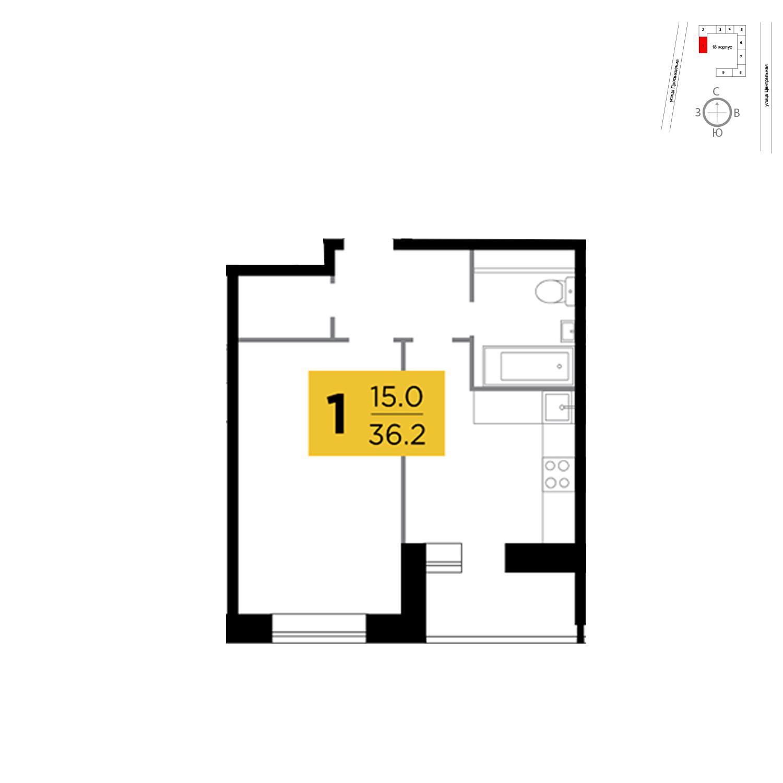 Продаётся 1-комнатная квартира в новостройке 36.2 кв.м. этаж 5/16 за 2 689 261 руб
