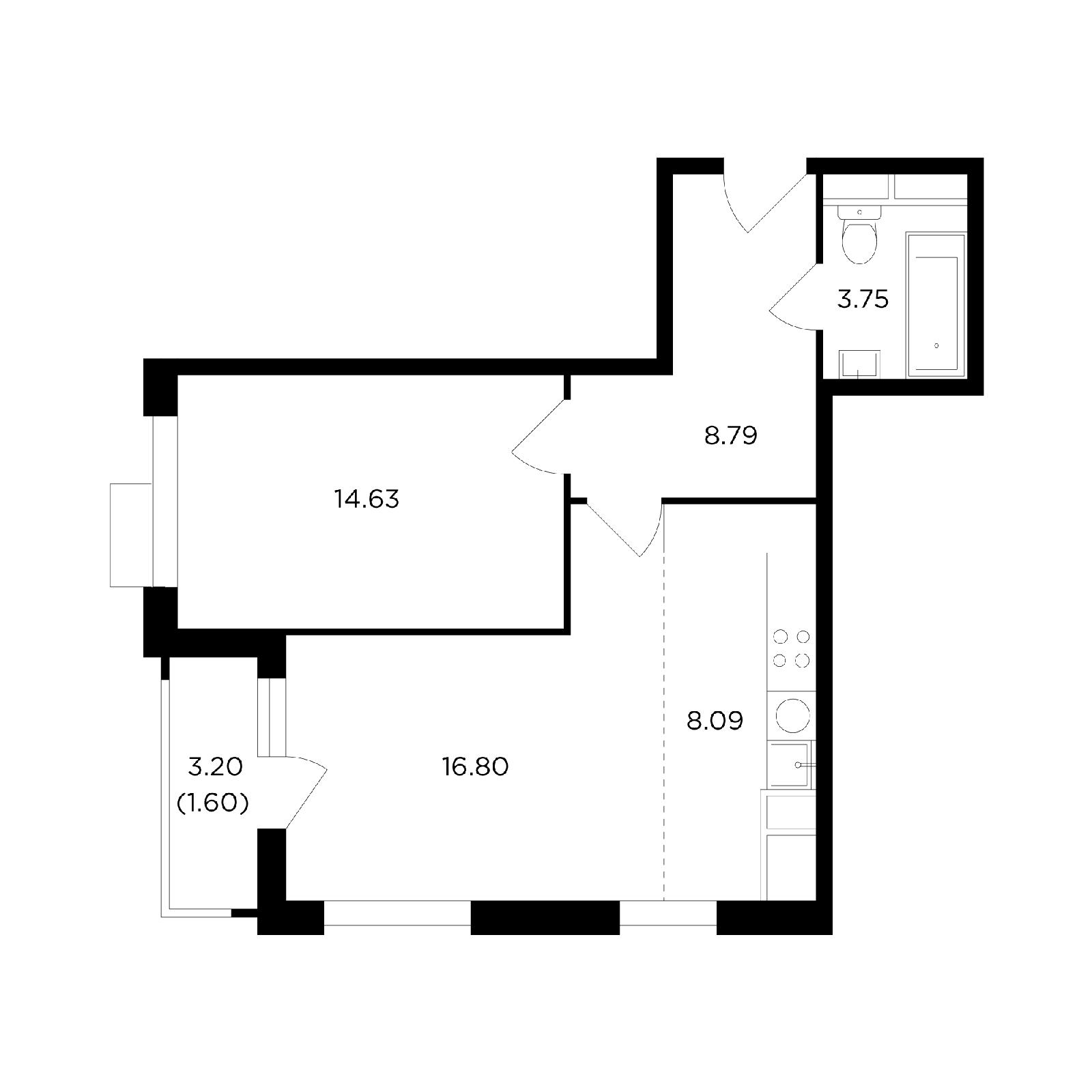 Продаётся 2-комнатная квартира в новостройке 53.7 кв.м. этаж 24/27 за 17 909 106 руб
