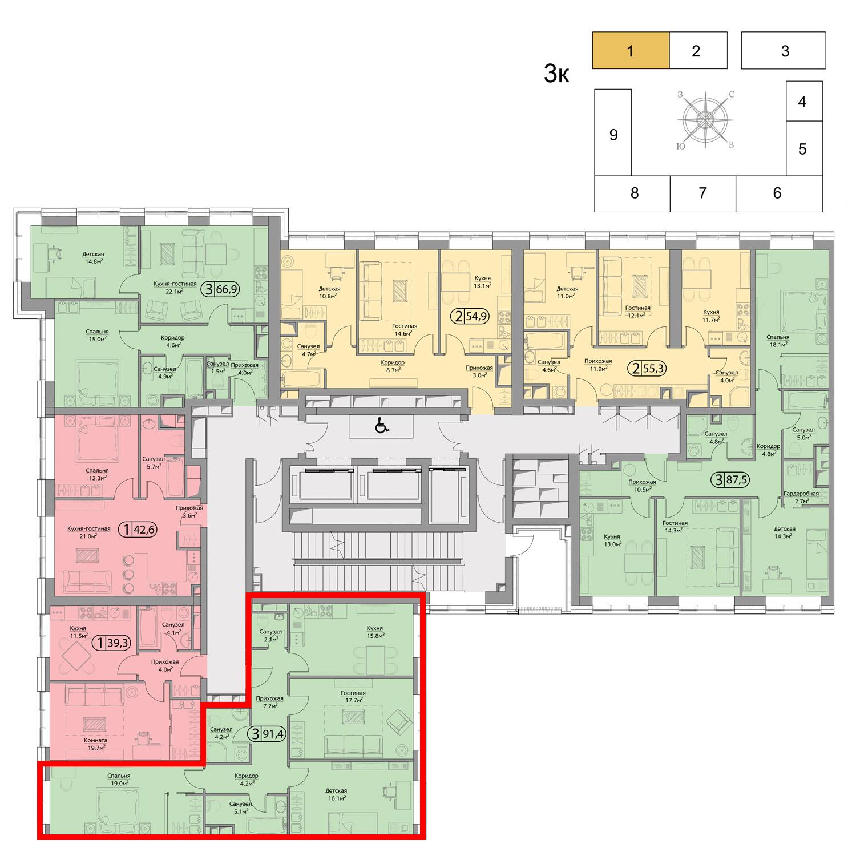Продаётся 3-комнатная квартира в новостройке 91.4 кв.м. этаж 5/41 за 33 805 661 руб