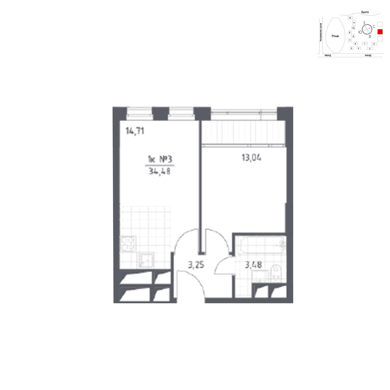 Продаётся 1-комнатная квартира в новостройке 34.5 кв.м. этаж 6/31 за 5 567 692 руб