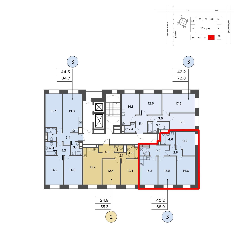 Продаётся 3-комнатная квартира в новостройке 68.9 кв.м. этаж 7/16 за 23 701 054 руб
