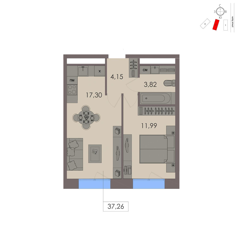 Продаётся 1-комнатная квартира в новостройке 37.3 кв.м. этаж 12/21 за 9 028 900 руб