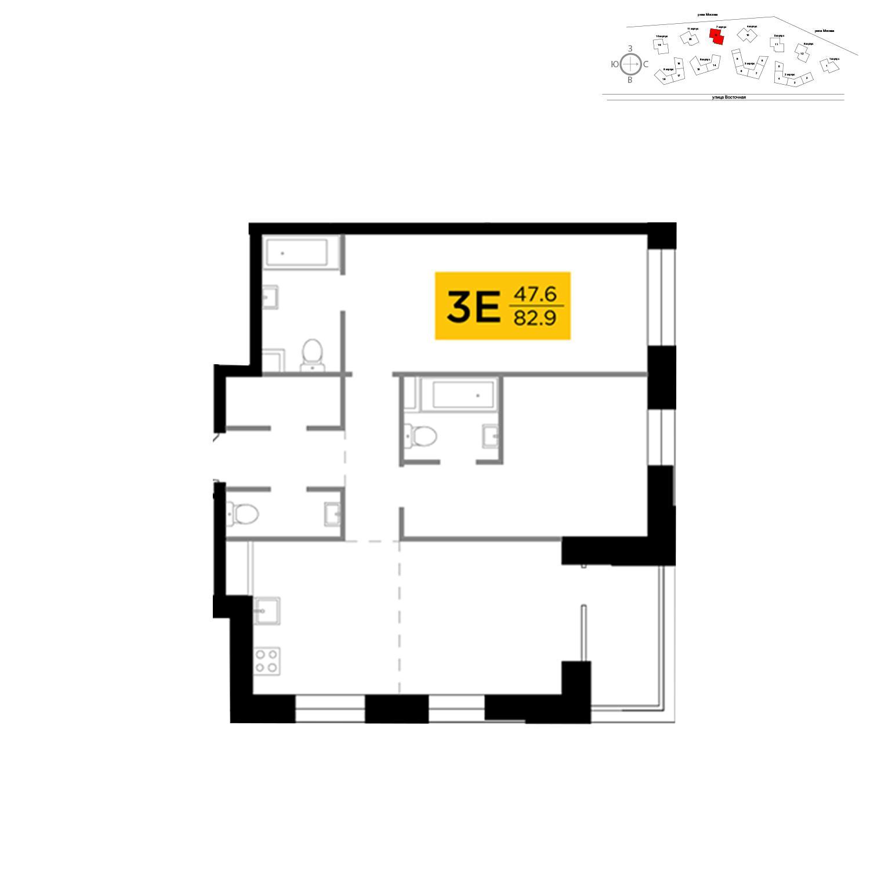 Продаётся 3-комнатная квартира в новостройке 82.9 кв.м. этаж 13/19 за 32 929 605 руб