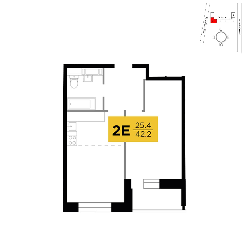 Продаётся 2-комнатная квартира в новостройке 42.2 кв.м. этаж 3/13 за 5 870 570 руб